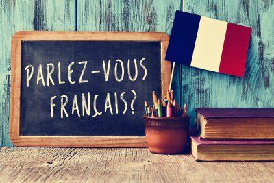 chalkboard with parlez-vous francais?